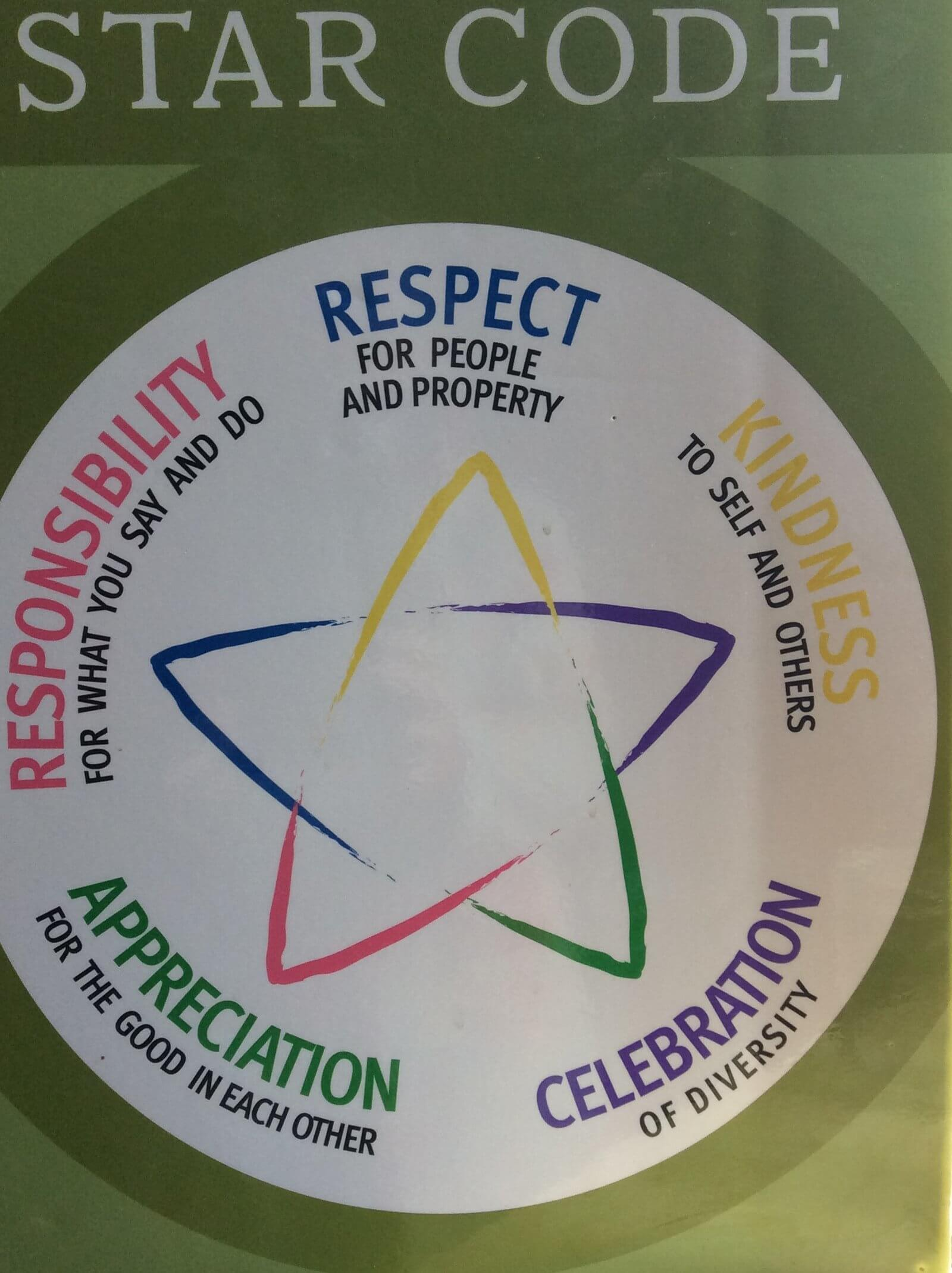 The BWS Star Code is a visual reminder to celebrate diversity and practice unity and kindness.